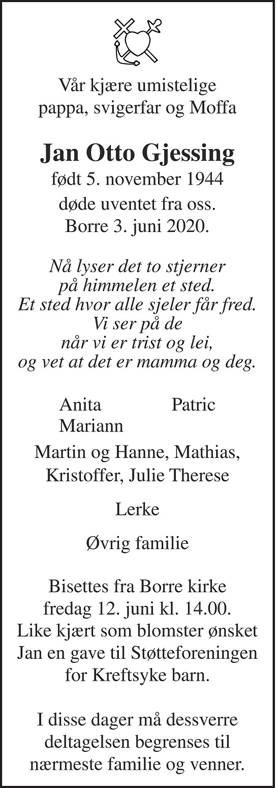 Jan Otto Gjessing Dødsannonse