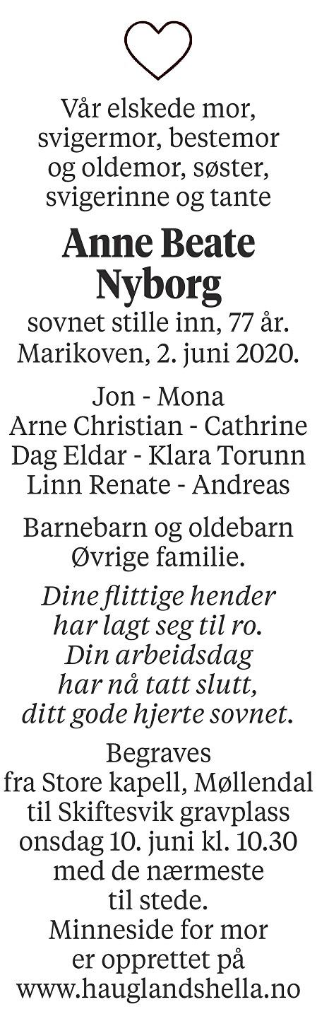 Anne Beate Nyborg Dødsannonse