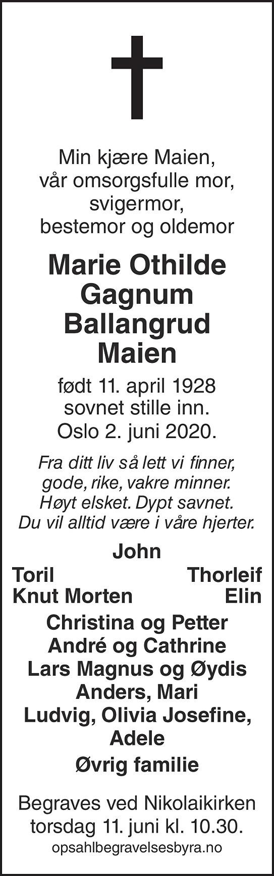 Marie Othilde Gagnum Ballangrud Dødsannonse