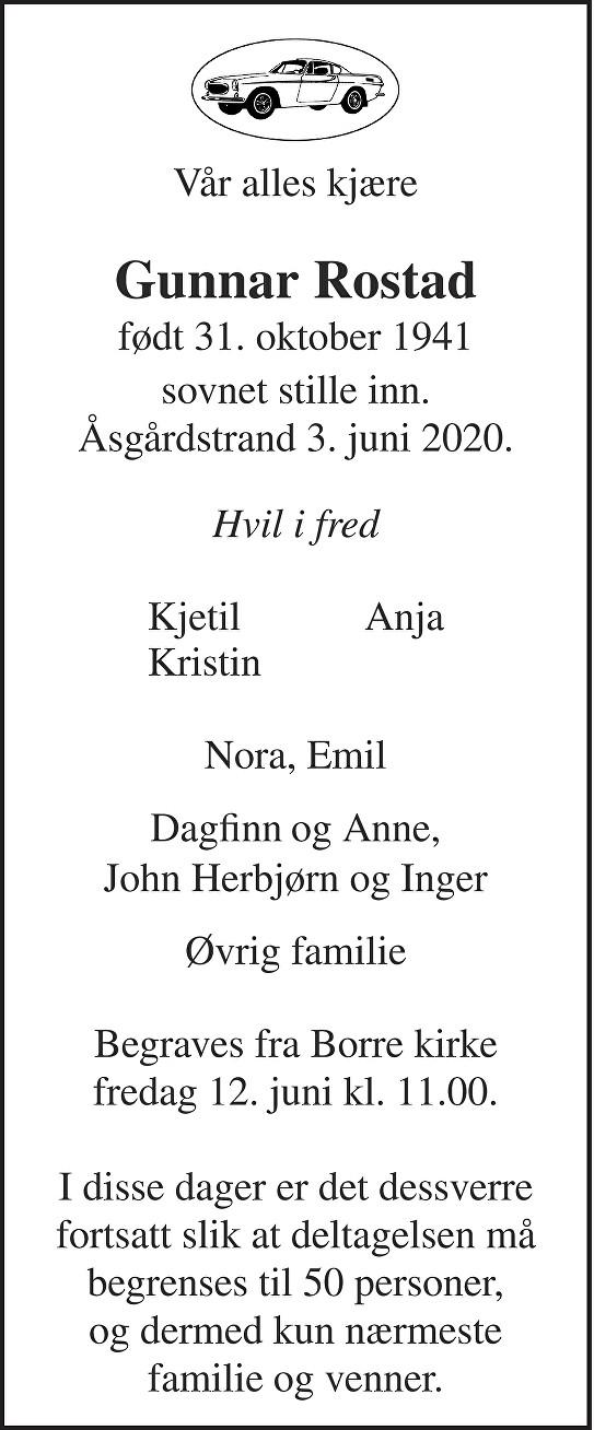 Gunnar Rostad Dødsannonse