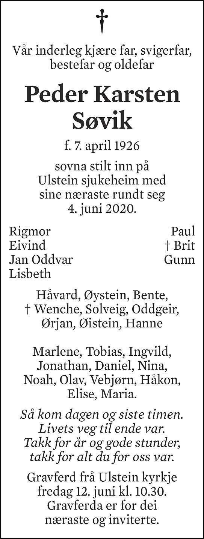 Peder Karsten Søvik Dødsannonse