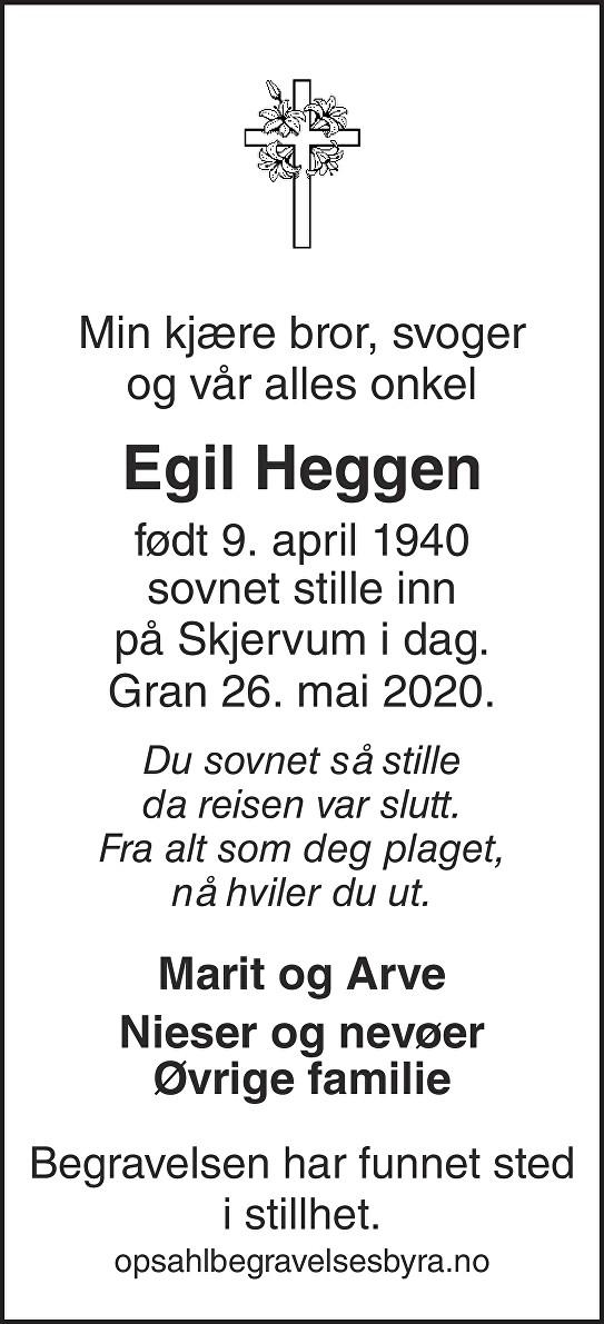 Egil Heggen Dødsannonse