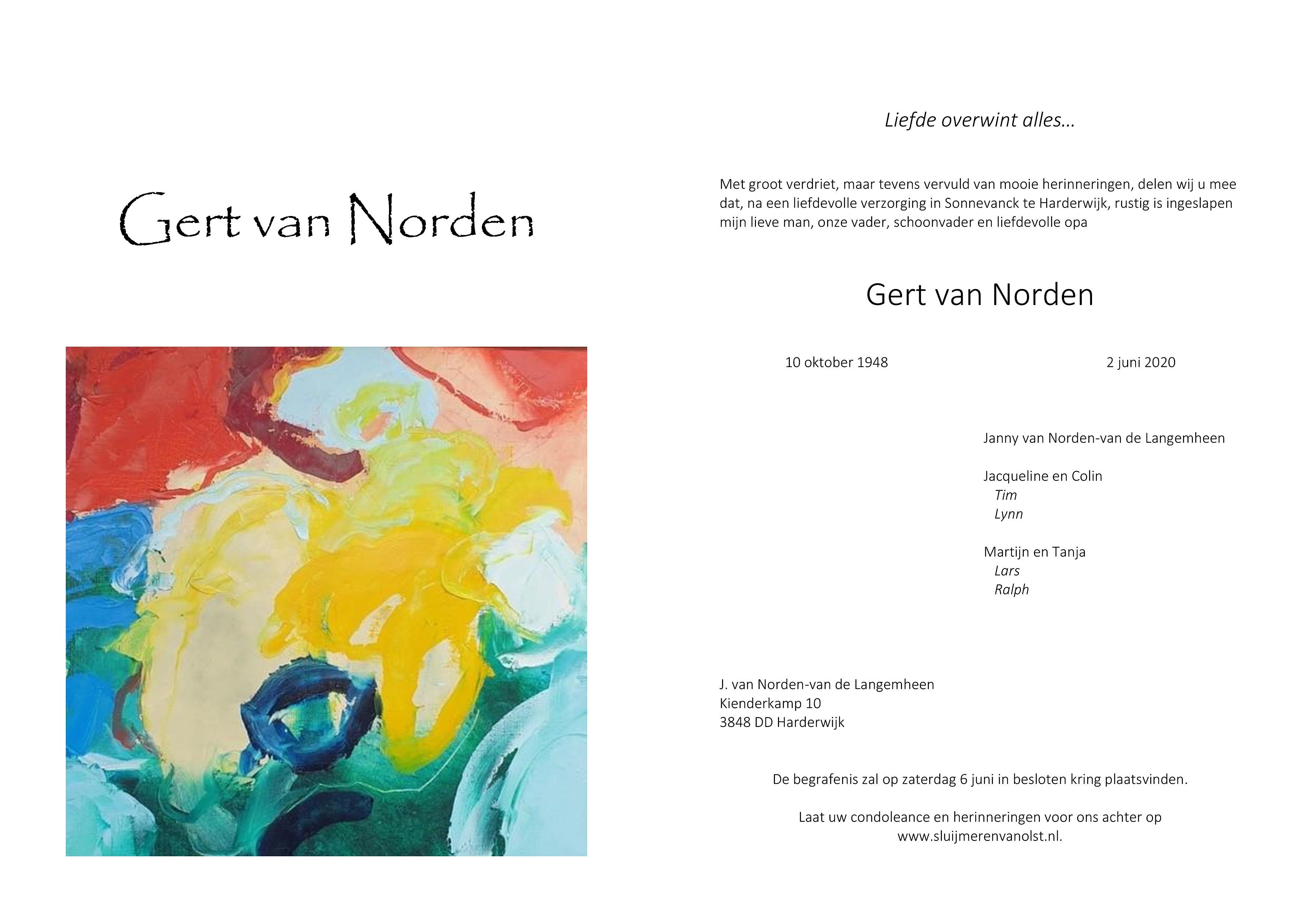 Gert van Norden Death notice