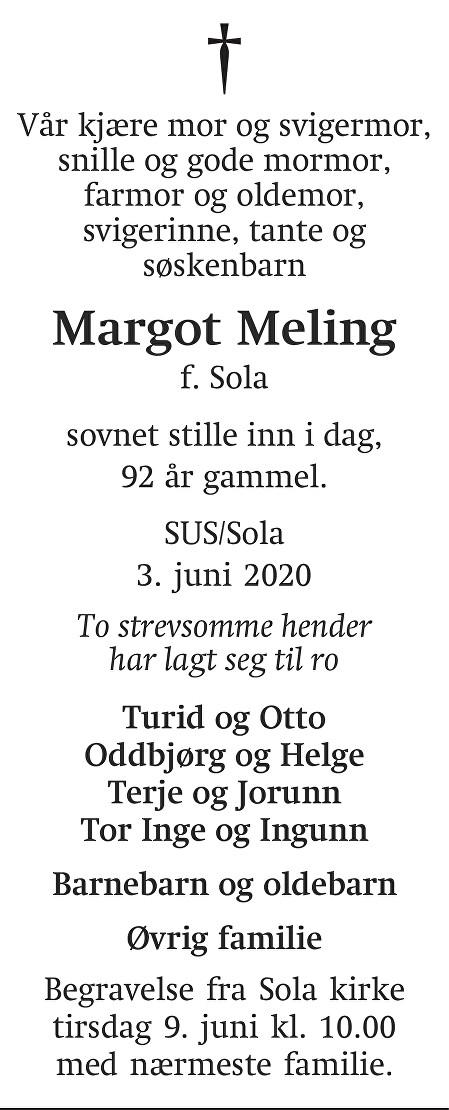 Margot Meling Dødsannonse