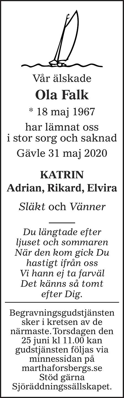 Ola Falk Death notice