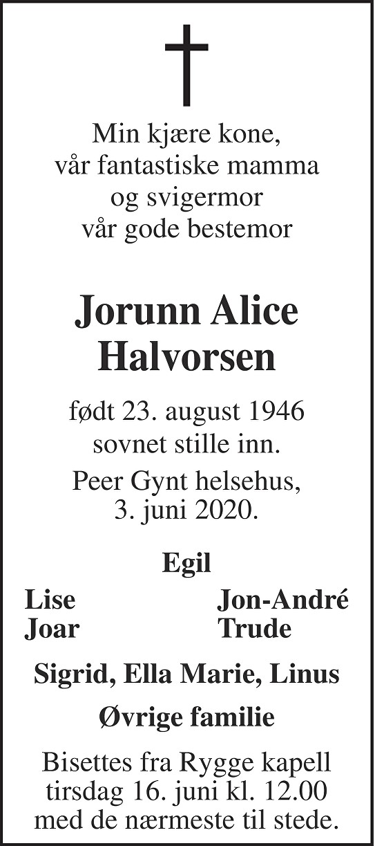 Jorunn Alice Halvorsen Dødsannonse