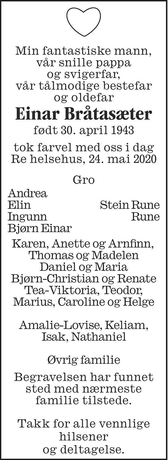 Einar Bråtasæter Dødsannonse