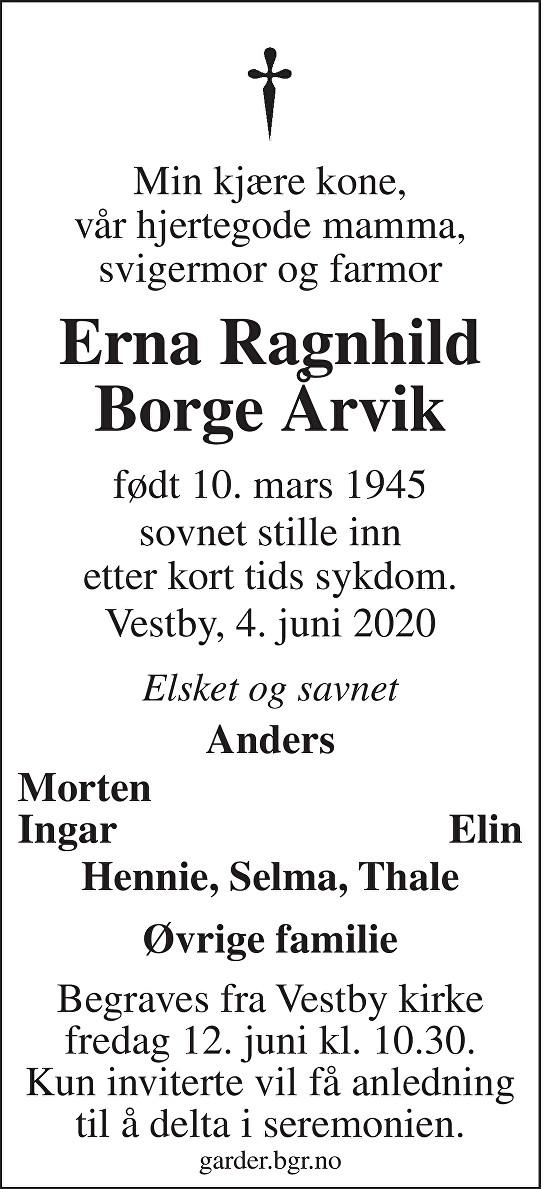 Erna Ragnhild Borge Årvik Dødsannonse
