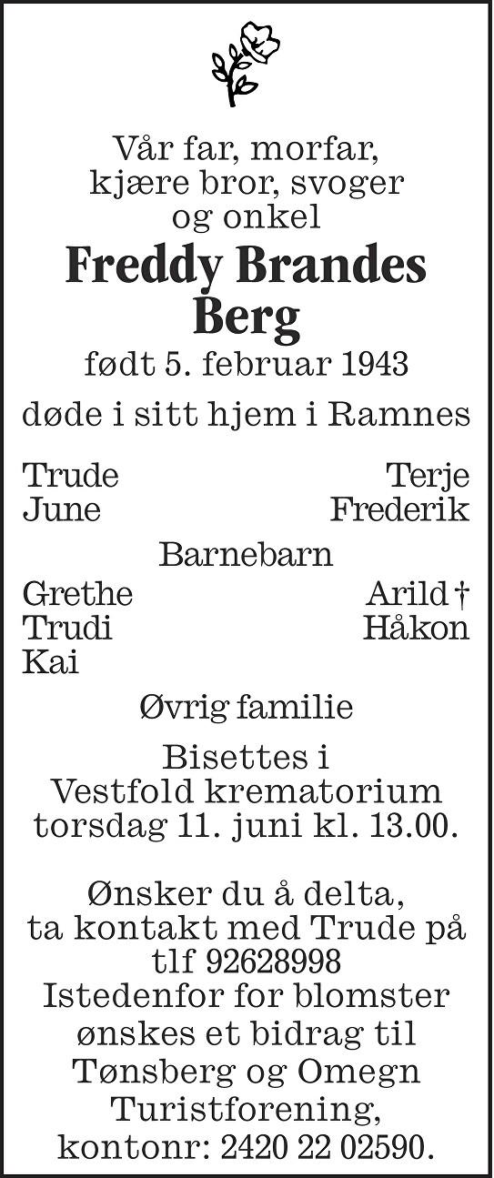 Freddy Brandes Berg Dødsannonse