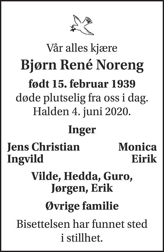 Bjørn Renè Noreng Dødsannonse