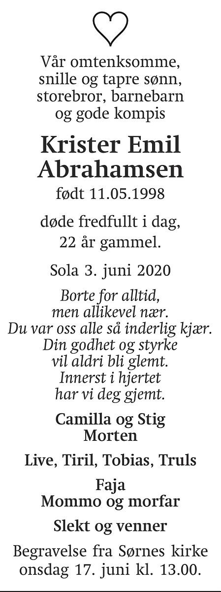 Krister Emil Abrahamsen Dødsannonse