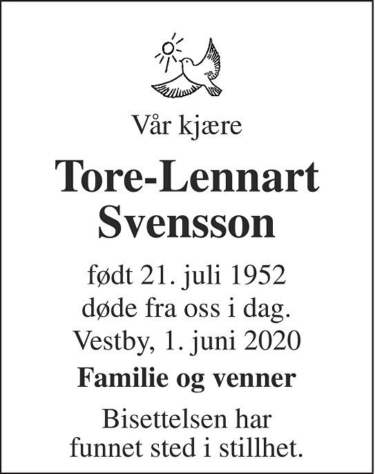 Tore-Lennart Svensson Dødsannonse