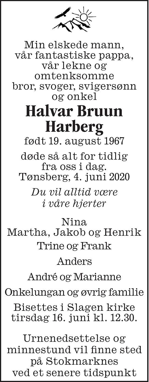Halvar Bruun Harberg Dødsannonse