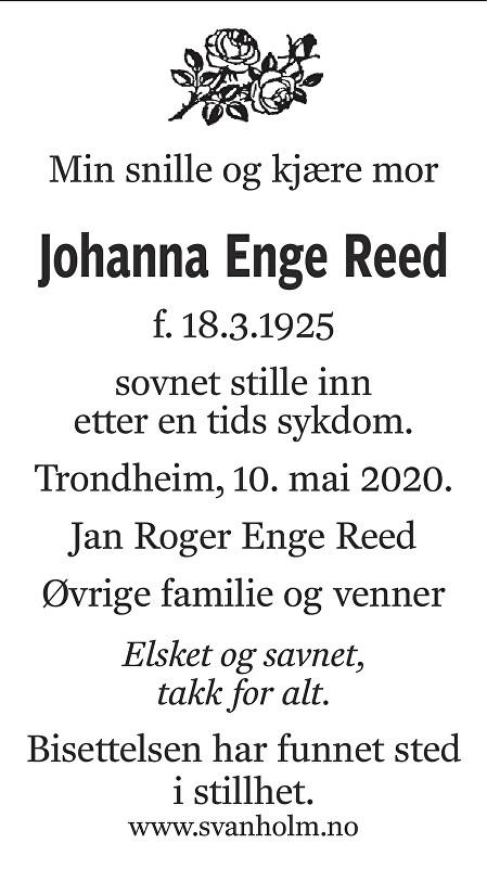 Johanna Enge Reed Dødsannonse