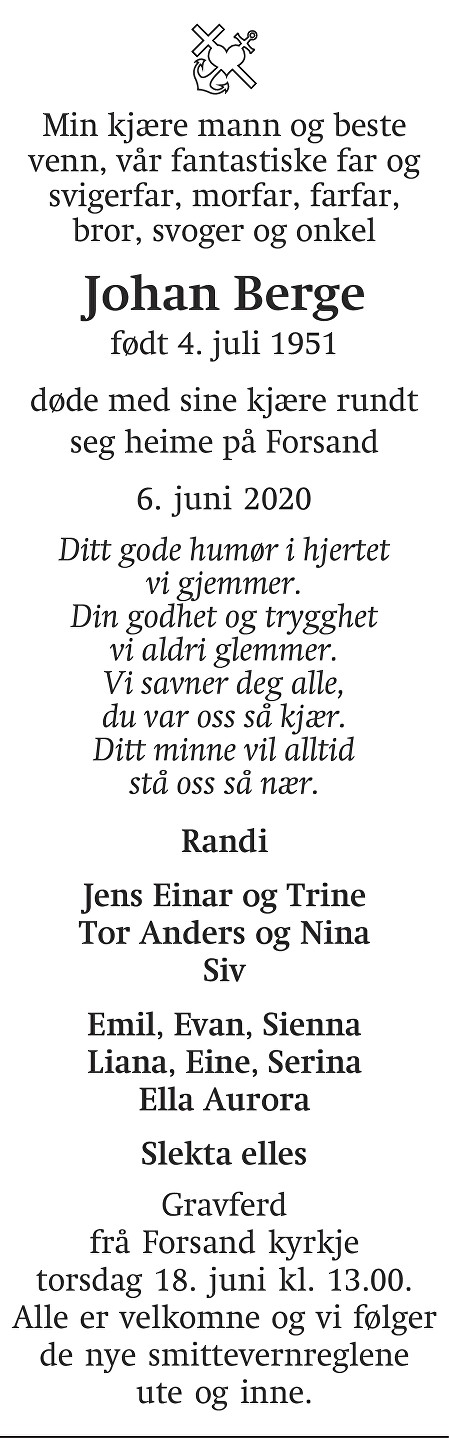 Johan Berge Dødsannonse