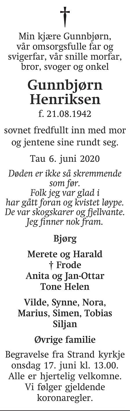 Ivar Gunnbjørn  Henriksen Dødsannonse