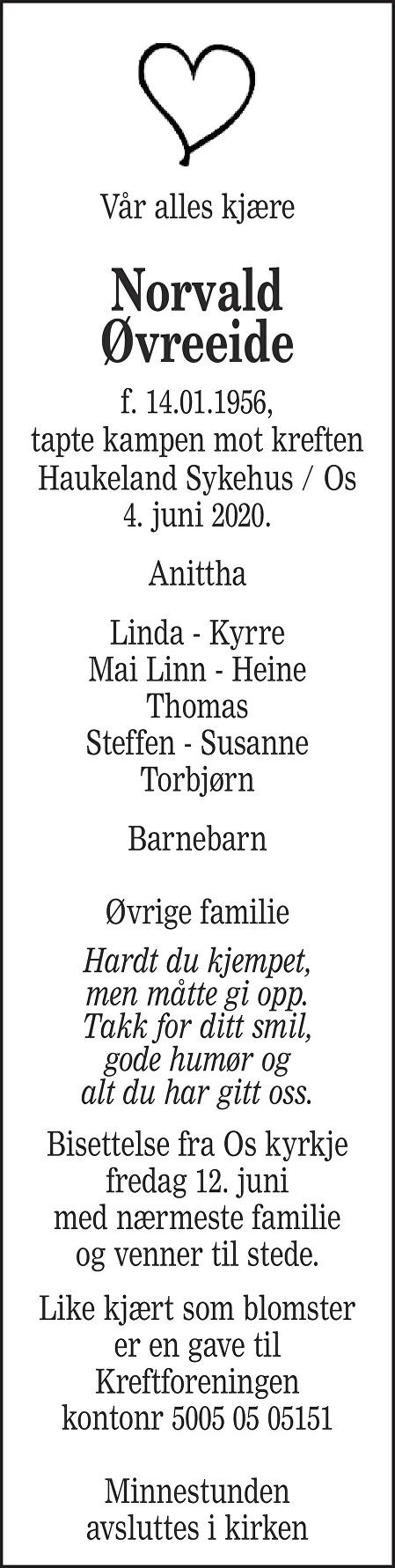 Norvald Øvreeide Dødsannonse