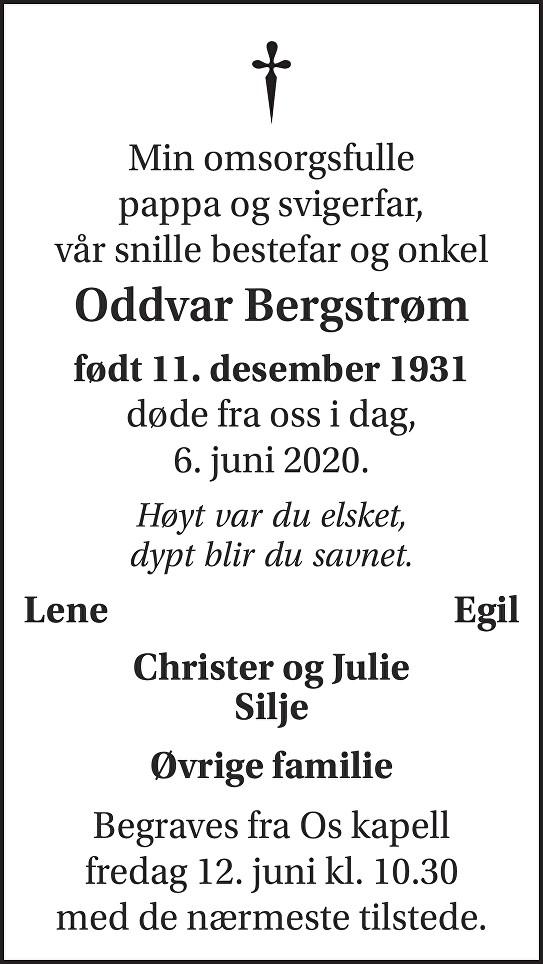 Oddvar Richard Bergstrøm Dødsannonse