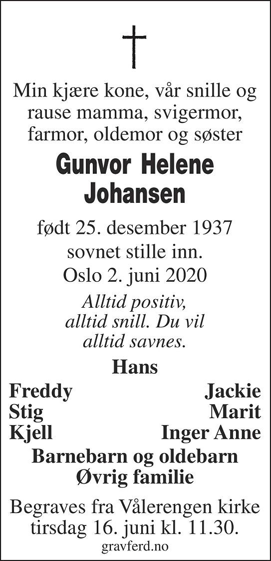 Gunvor Helene Johansen Dødsannonse
