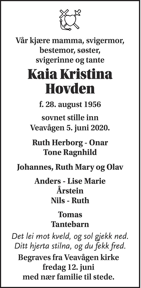Kaia Kristina Hovden Dødsannonse