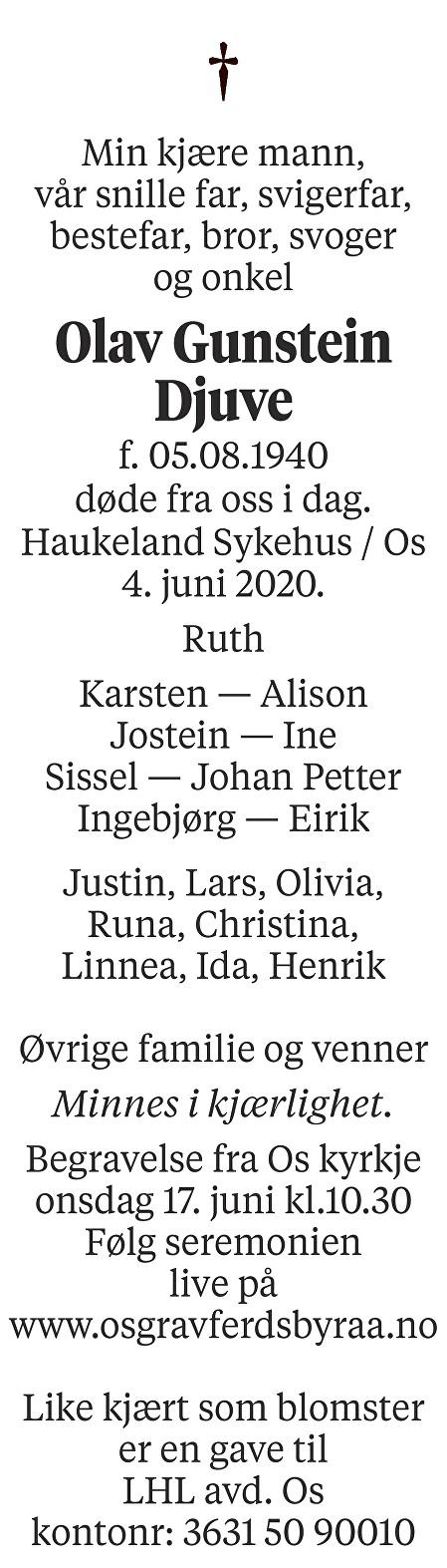 Olav Gunstein Djuve Dødsannonse