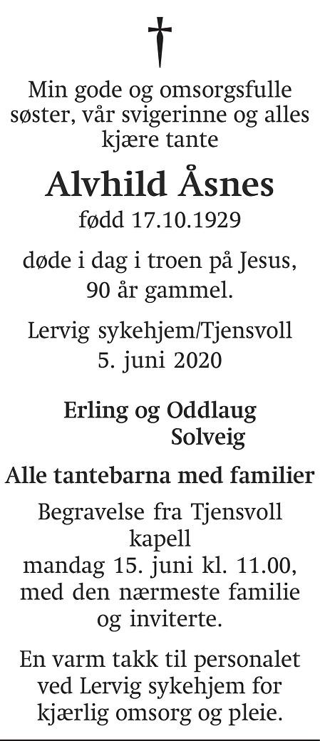 Alvhild Åsnes Dødsannonse