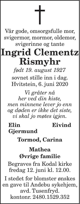 Ingrid Clementz Rismyhr Dødsannonse