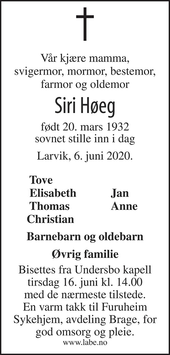 Siri Høeg Dødsannonse