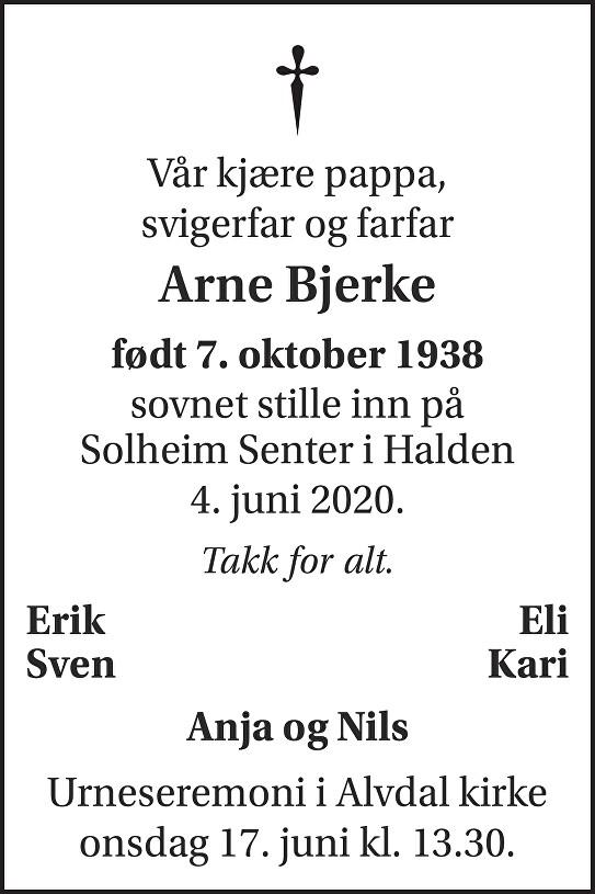 Arne Bjerke Dødsannonse