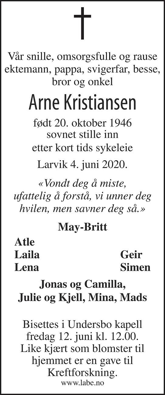 Arne Kristiansen Dødsannonse