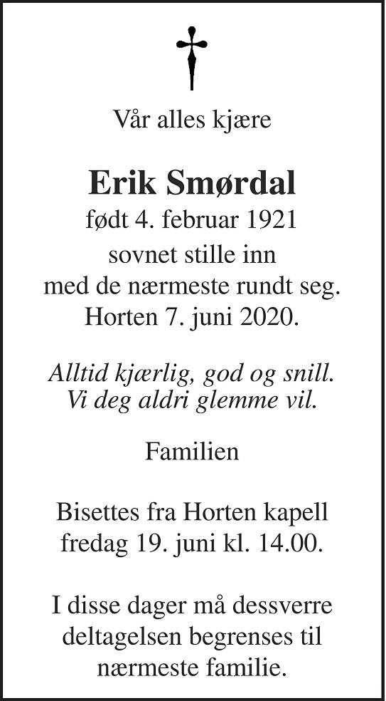 Erik Smørdal Dødsannonse