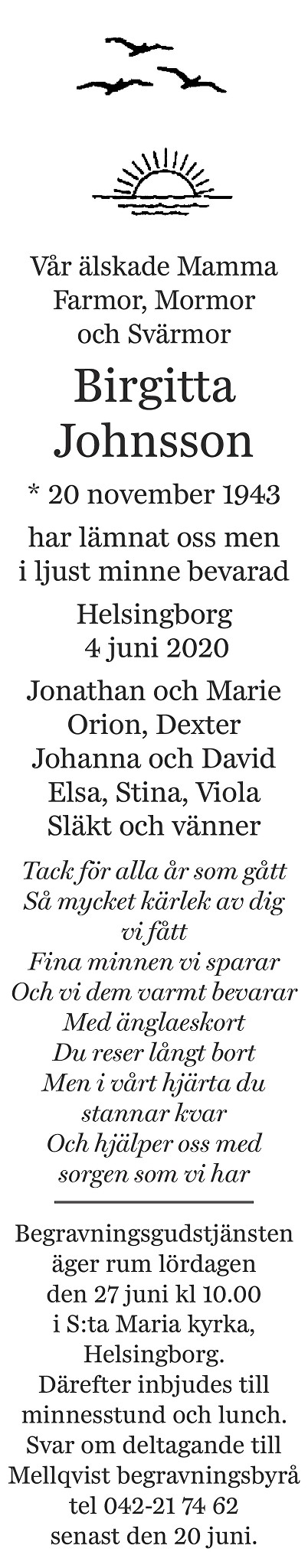 Birgitta Johnsson Death notice