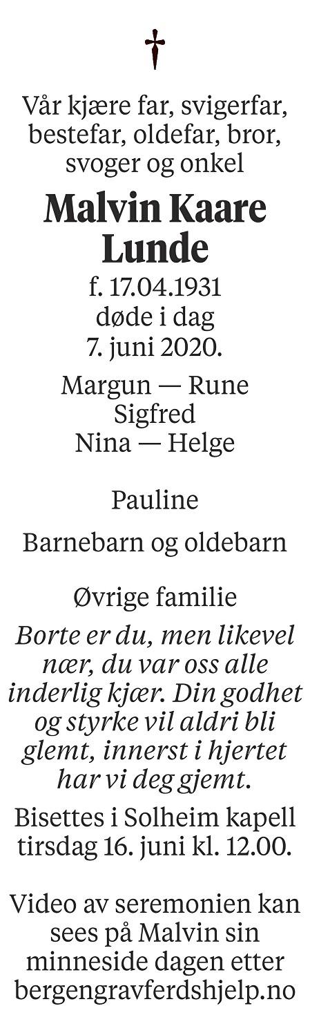 Malvin Kaare Lunde Dødsannonse