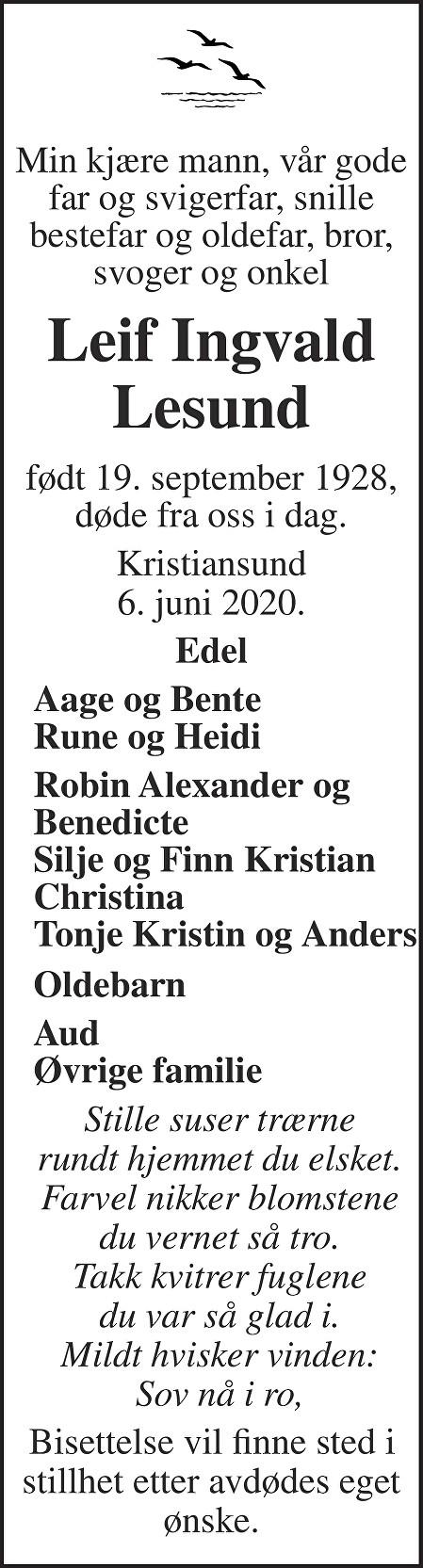 Leif Ingvald Lesund Dødsannonse