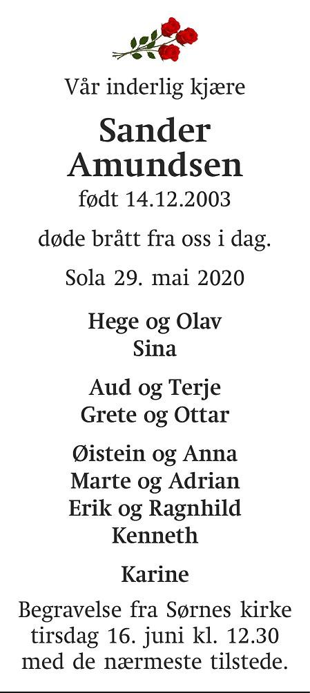 Sander  Amundsen Dødsannonse