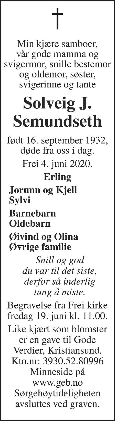 Solveig Jørgine Semundseth Dødsannonse
