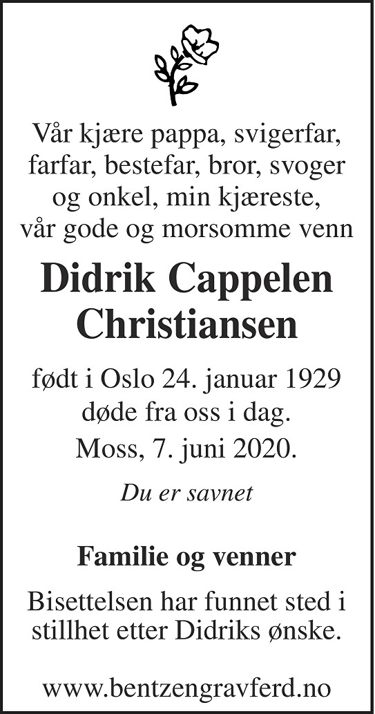 Didrik Cappelen Christiansen Dødsannonse
