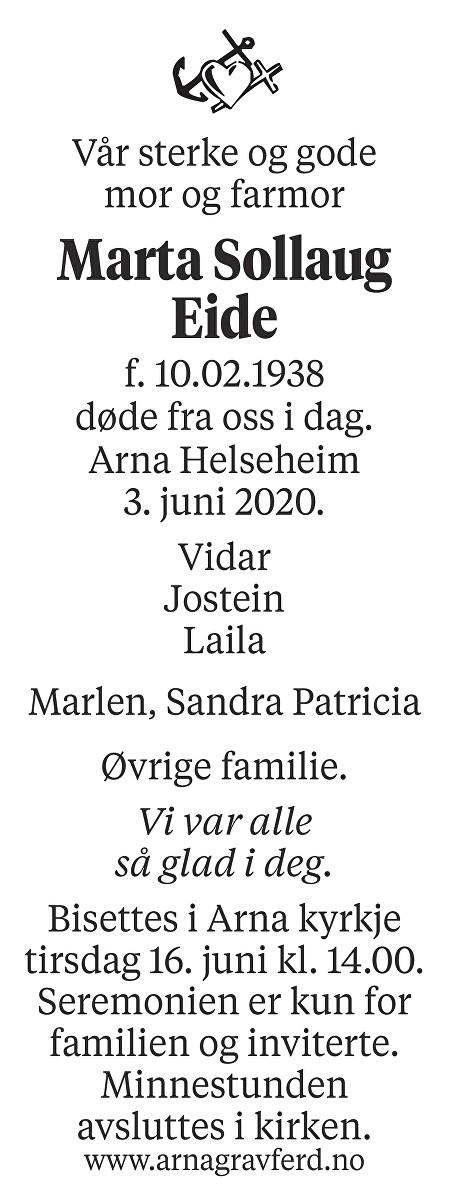 Marta  Sollaug Eide Dødsannonse