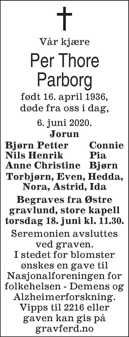 Per Thore Parborg Dødsannonse