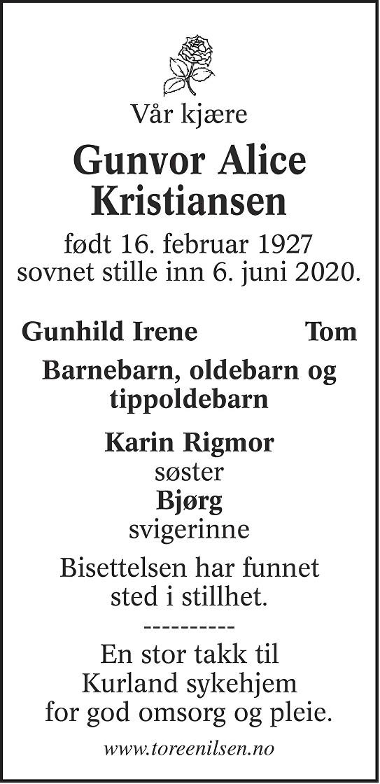 Gunvor Alice Kristiansen Dødsannonse