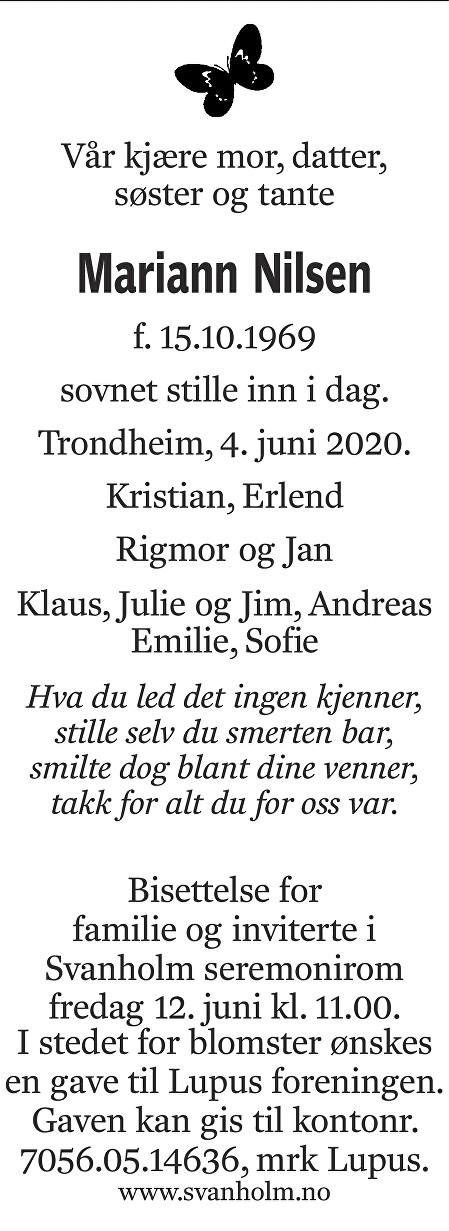 Mariann Nilsen Dødsannonse