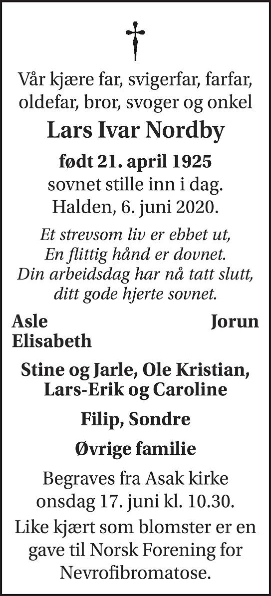 Lars Ivar Nordby Dødsannonse