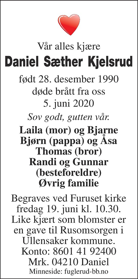Daniel Sæther Kjelsrud Dødsannonse