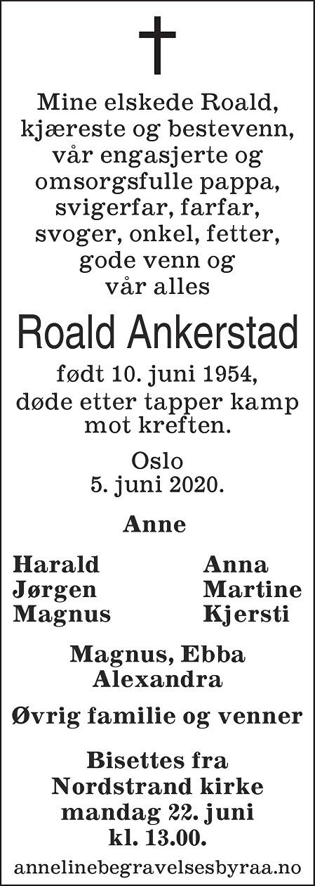 Roald Raymond Ankerstad Dødsannonse