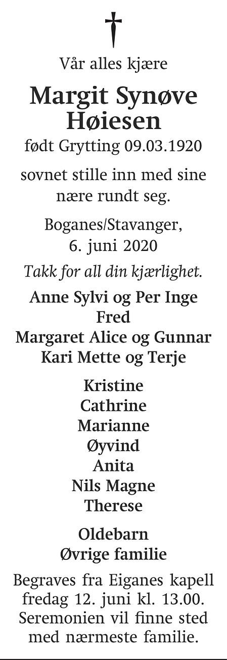 Margit Synøve Høiesen Dødsannonse