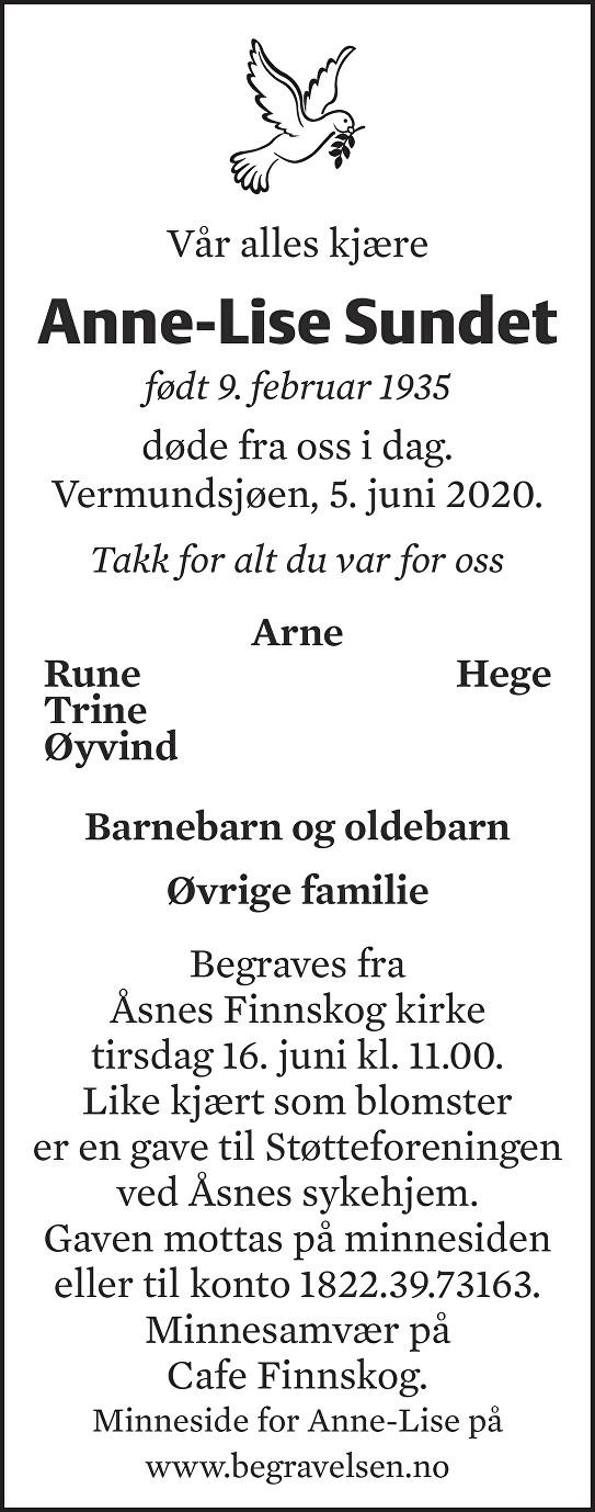 Anne-Lise Sundet Dødsannonse