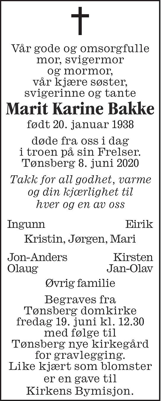 Marit Karine Bakke Dødsannonse