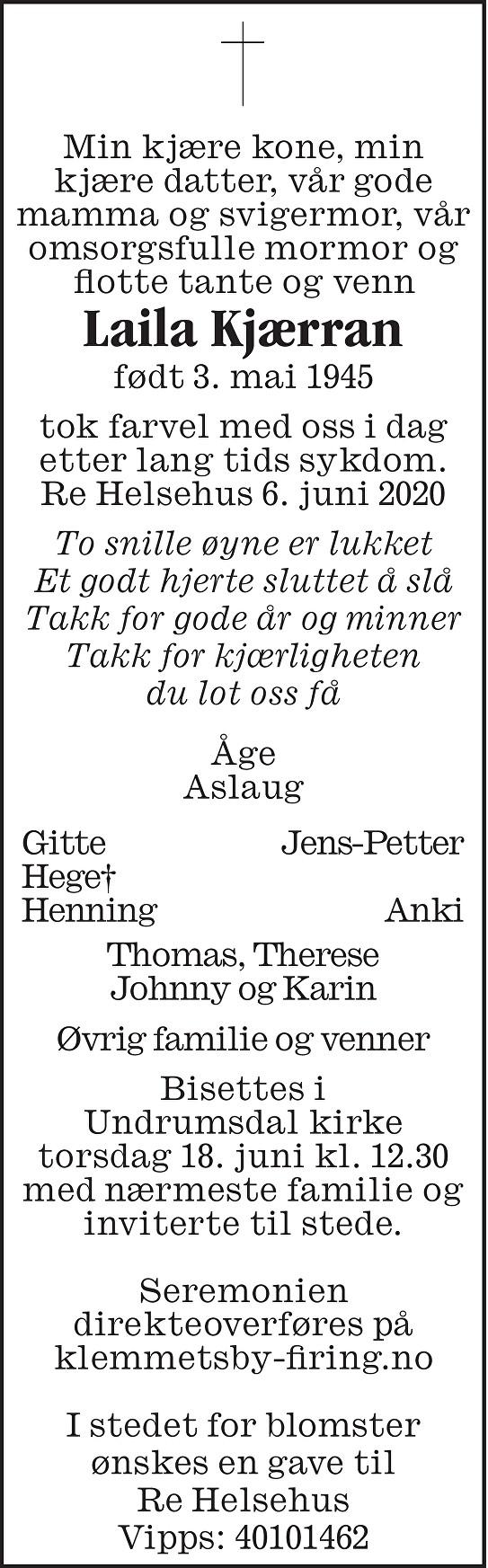 Laila Kjærran Dødsannonse