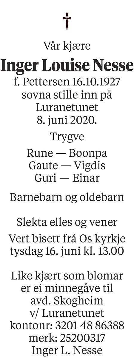 Inger Louise  Nesse Dødsannonse