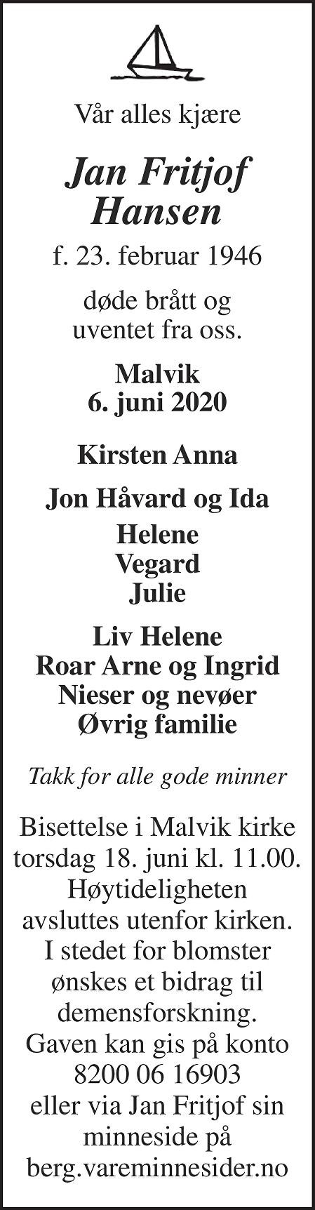 Jan Fritjof Hansen Dødsannonse